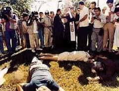 Il luogo del massacro, all'interno della Uca di San Salvador, il 19 novembre 1989