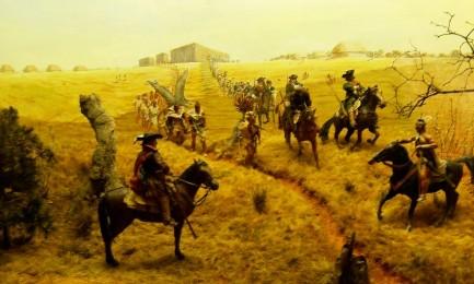Pittura esposta nel museo di Ocmulgee, in Florida. Rappresenta l'esercito inglese e indio di James Moore, responsabile della morte di religiosi e civili