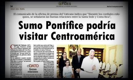 """""""IL PAPA POTREBBE VISITARE L'AMERICA CENTRALE"""". Lo scrive la rivista dell'Honduras Fides vicina al cardinal Maradiaga, l'uomo che coordina le riforme di Francesco"""
