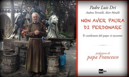 Padre Luis Dri nel cortile del Santuario di Pompeya a Buenos Aires. La copertina del libro