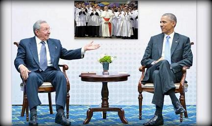 Il primo incontro tra Obama e Castro il 17 aprile 2015 (Efe). Nel riquadro il cardinale Jaime Ortega