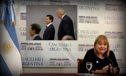 La Ministra degli esteri argentina Susana Malcorra. Nel riquadro il presidente del Messico Enrique Peña Nieto sovrastato alle spalle dal presidente Usa Donald Trump