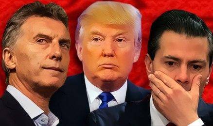 Il presidente Argentino Macri, Trump al centro, il messicano Peña Nieto