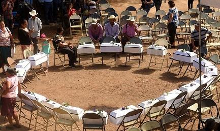 Bare con i resti di bambini del massacro del 1981 sepolti di recente