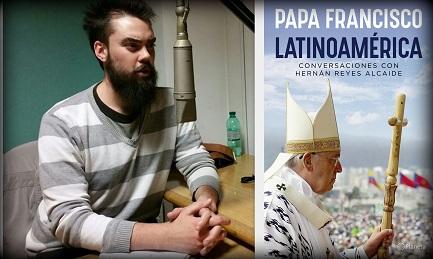 Hernán Reyes negli studi di Radio Vaticana e la copertina del libro-intervista al Papa