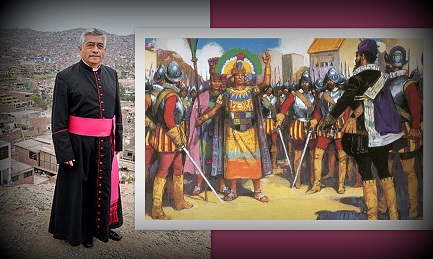 """Una immagine del """"processo"""" di Pizarro ad Atahualpa. Il parroco Guillermo Inca Pereda"""