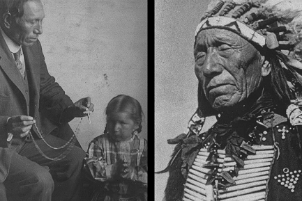 Black Elk catechista e come leader Lakota. (Foto a sinistra: Marquette University Archives, Bureau of Catholic Indian Mission Records, ID 00559; foto a destra: Marquette University Archives, Bureau of Catholic Indian Mission Records, ID 01287/Ben Hunt)