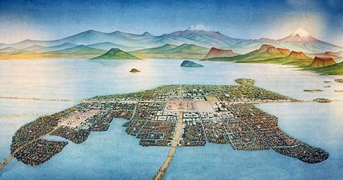 Pittura di Tenochitlan, la capitale azteca costruita al centro del lago dove oggi sorge Città del Messico