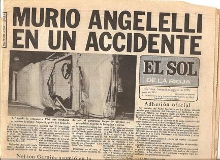 """L'edizione del 5 agosto 1976 del quotidiano """"El Sol de la Rioja"""" che annuncia la morte del vescovo Angelelli"""