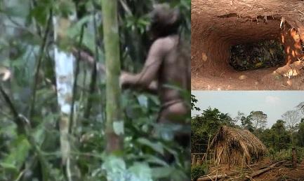 La capanna e orto dove 'l'ultimo della sua tribù' coltiva manioca e altre verdure. Una buca scavata come trappola per gli animali o per nascondersi