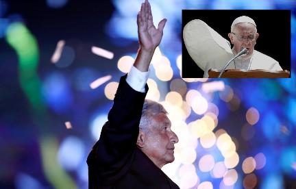 López Obrador, eletto presidente del Messico il 2 luglio. Nel riquadro Papa Francesco