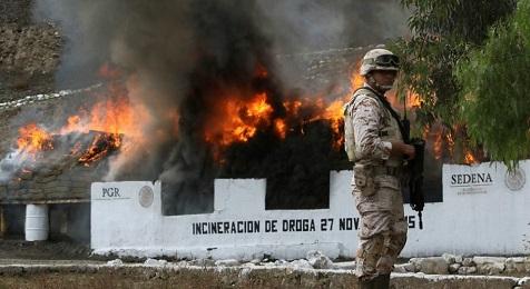 Operazione di incenerimento di droga sequestrata